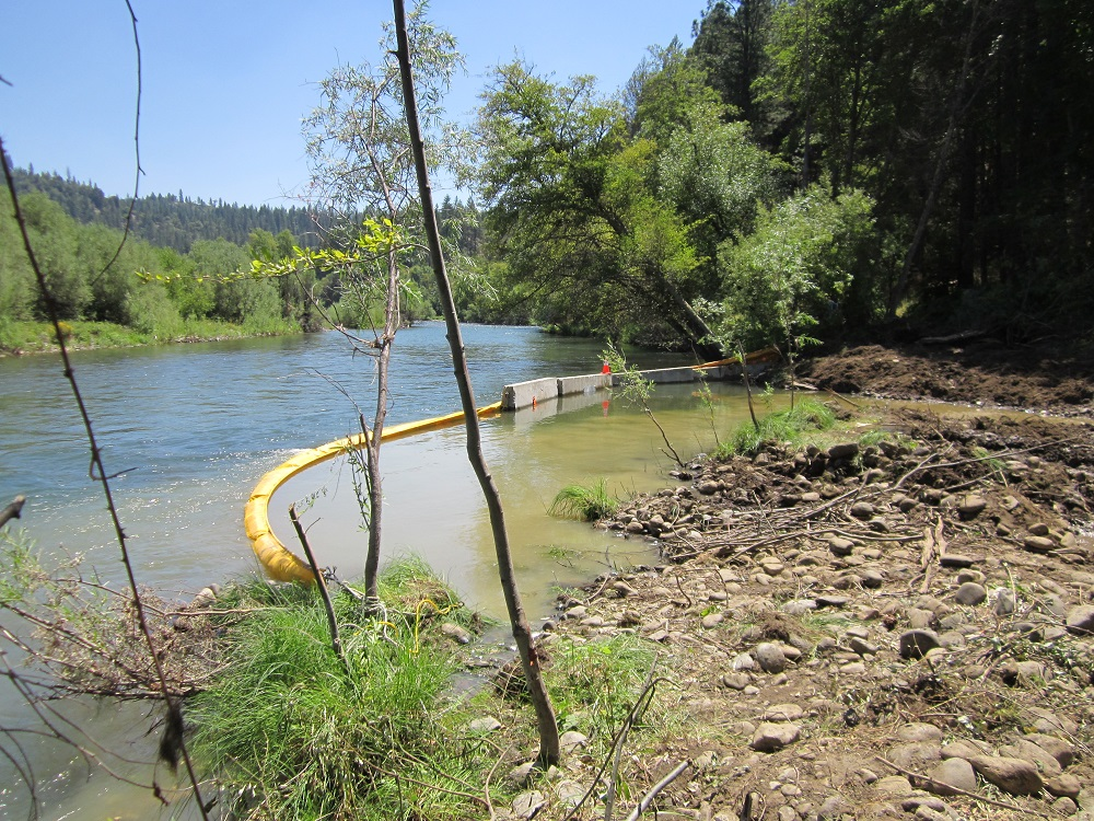 Turbidity mitigation measures are used during the Bucktail channel rehabilitation project.
