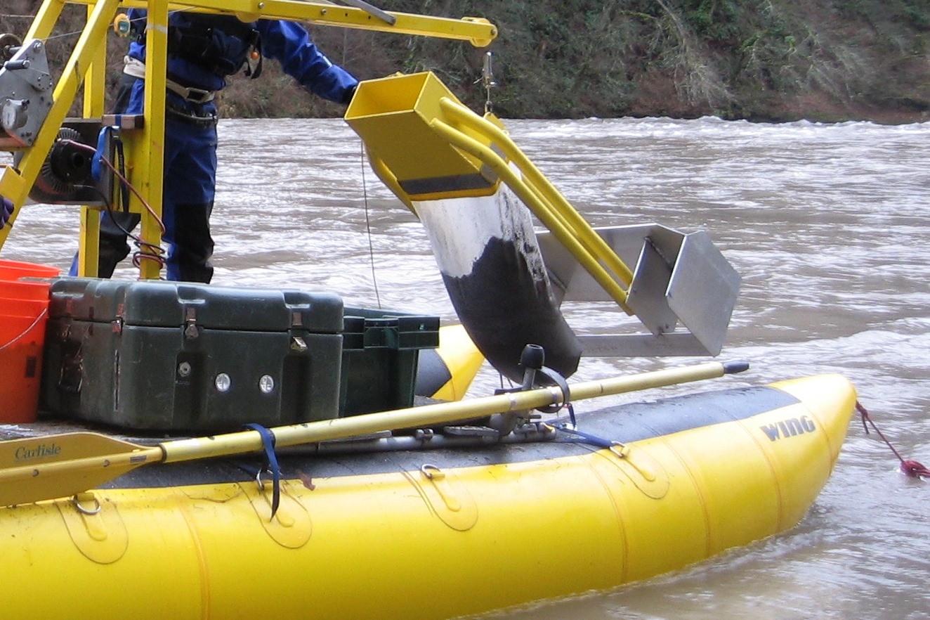 Sediment transport measurements were taken at four locations on the Trinity River in the spring of 2016.