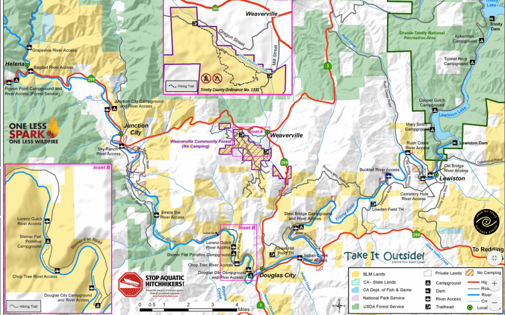 BLM map of public access points for the Trinity River from Trinity Dam to Helena.